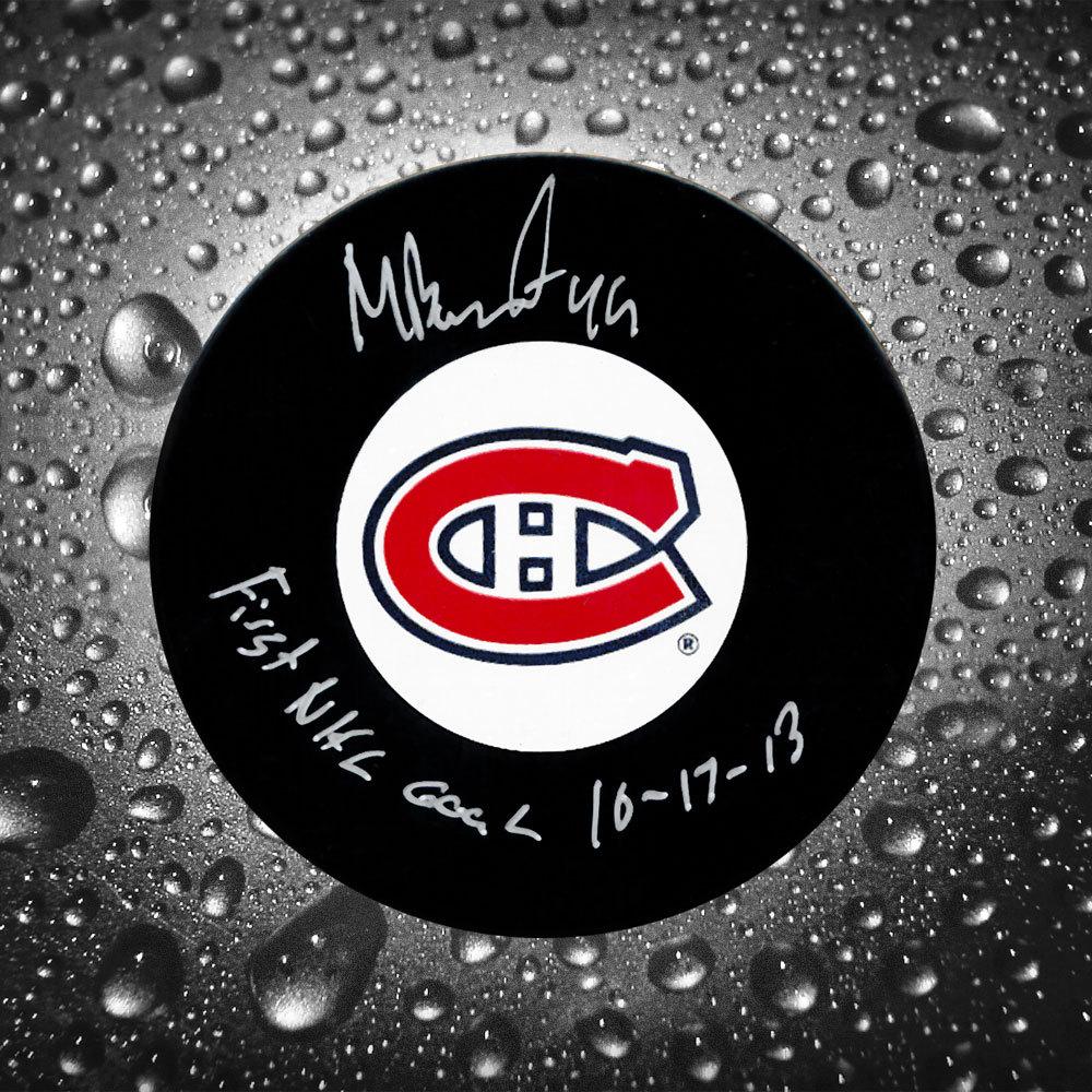 Michael Bournival Montreal Canadiens Autographed Puck w/ 1st NHL Goal Inscription