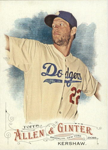 Photo of 2016 Topps Allen and Ginter #299 Clayton Kershaw -- Dodgers post-season