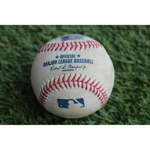 Photo of Game-Used Baseball: Adalberto Mondesi Regular Season MLB Debut - Foul Ball (LAA @ KC - 7/26/16)