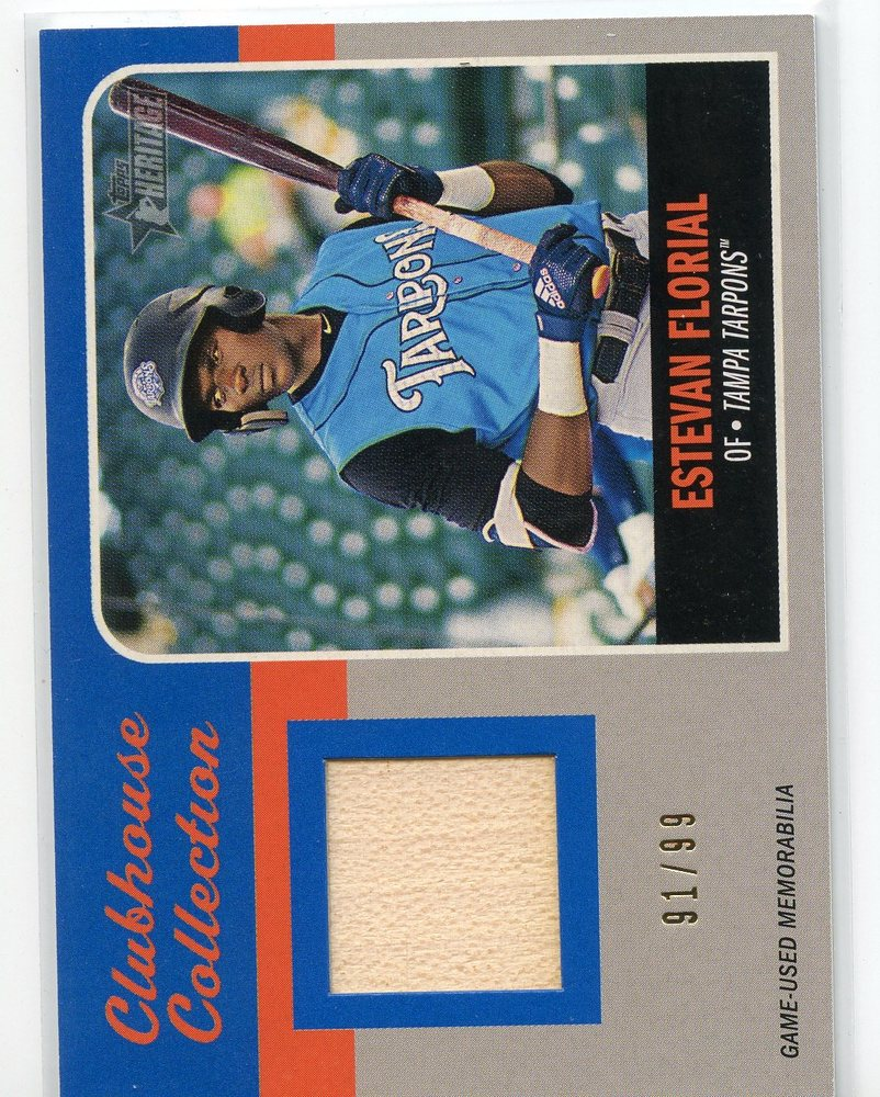 2019 Topps Heritage Minors Clubhouse Collection Relics Blue #CCREF Estevan Florial 91/99