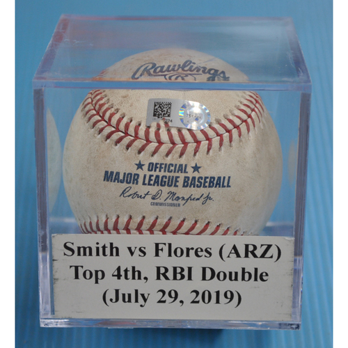 Photo of Game-Used Baseball: Caleb Smith vs Wilmer Flores (ARZ), Top 4th, RBI Double (July 29, 2019)