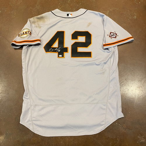 Photo of 2020 Jackie Robinson Day Jersey - Team Issued & Autographed - #48 Pablo Sandoval - Size 54
