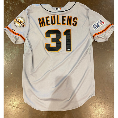 2014 Postseason Game Used Road Jersey used on 10/11 (NLCS Game 1) @ STL worn by #31 Hensley Meulens - Size 50