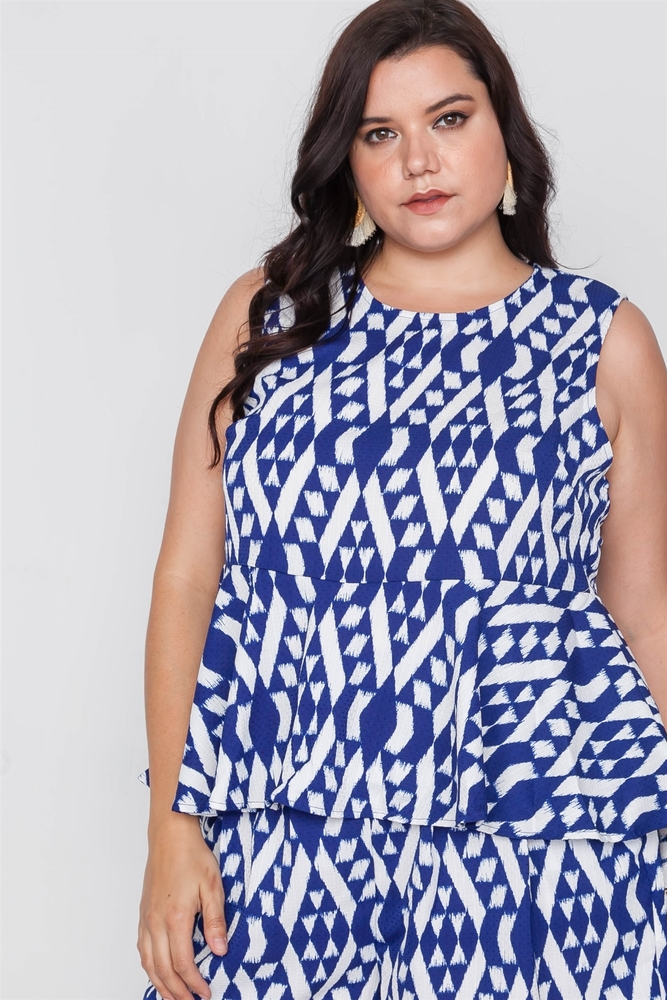 Photo of Serenity Plus Size Off White Blue Sleeveless Tribal Print Top