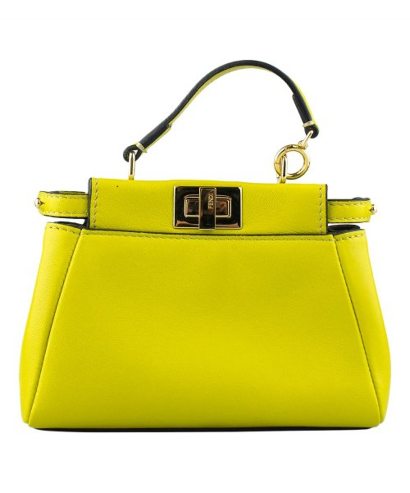 Photo of Fendi Lime Green Micro Peekaboo Leather Satchel