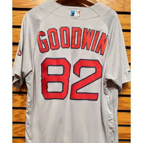 Photo of Coach Tom Goodwin #82 Game Used Road Gray Jersey