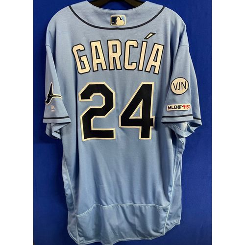 Photo of Game Used Columbia Blue Jersey: Avisail Garcia (HR, 2R, 3H, 3 RBI) - September 8, 2019 v TOR