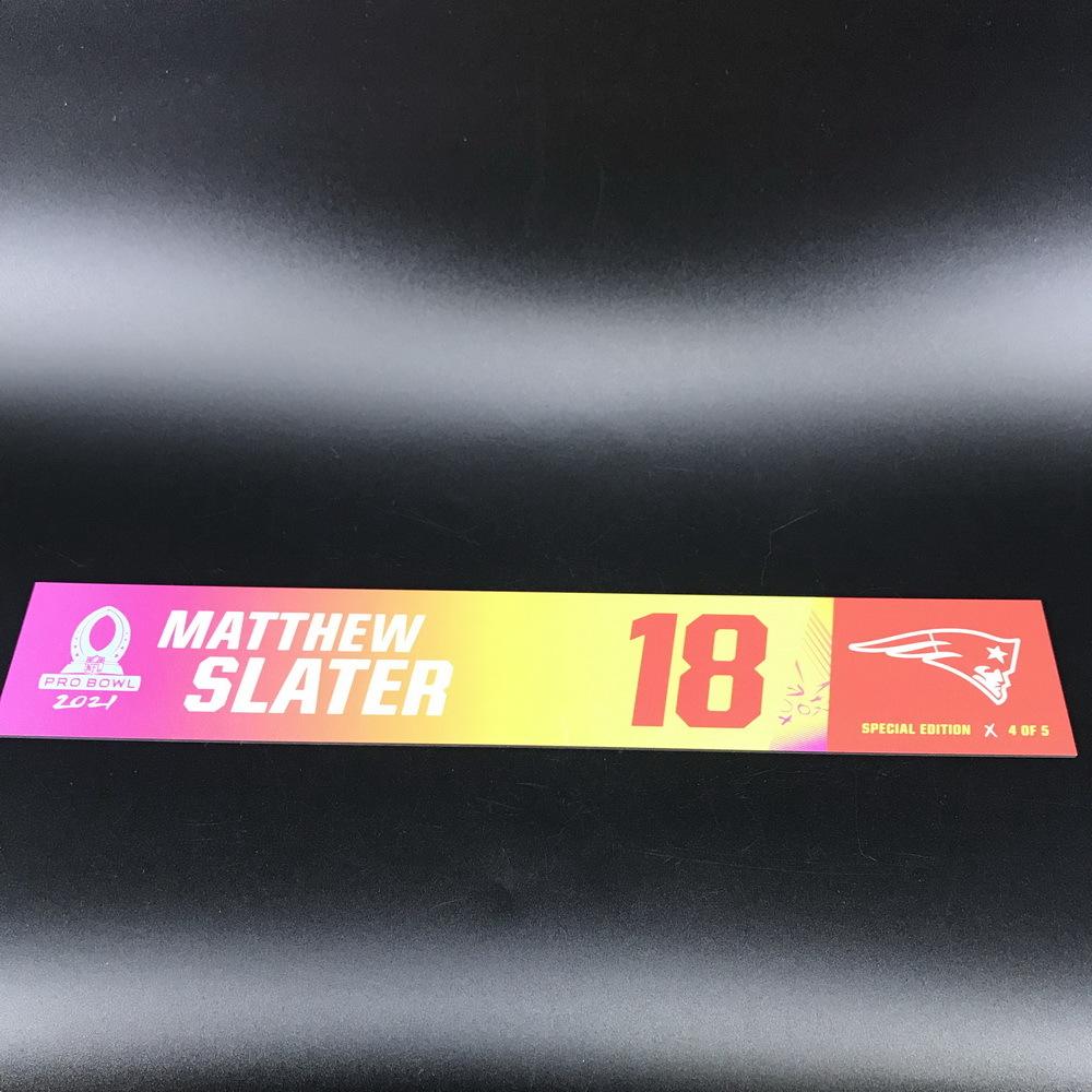NFL - Patriots Mathew Slater 2021 Pro Bowl Locker Nameplate Special Edition #4 of 5