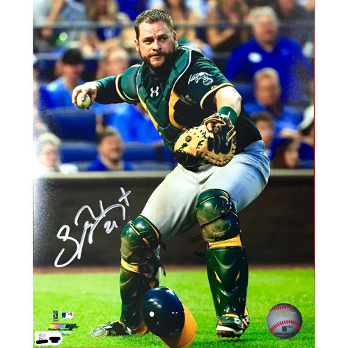 Stephen Vogt Autographed Catching Photo