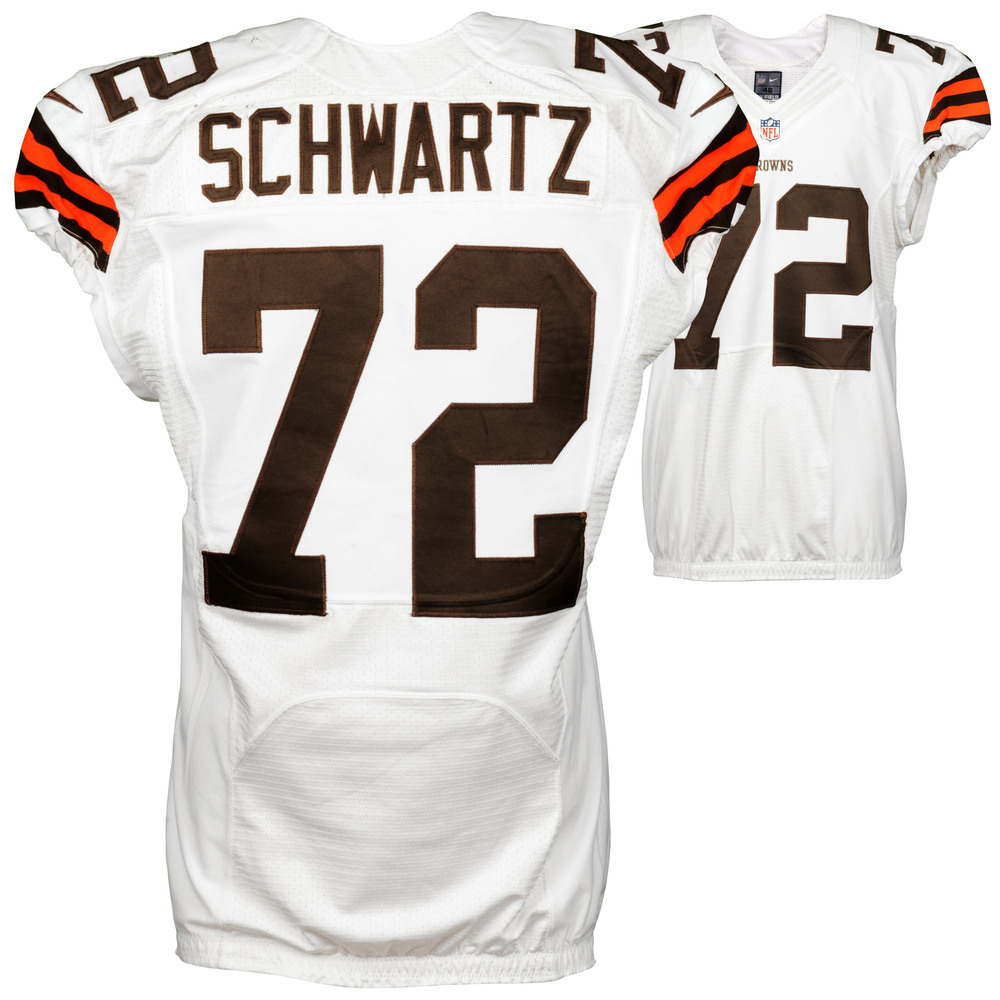 Mitchell Schwartz Cleveland Browns Game Used White #72 Jersey from the 2014 Season - 3