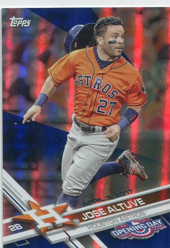 Photo of 2017 Topps Opening Day Blue Foil #87 Jose Altuve -- Astros ALCS roster