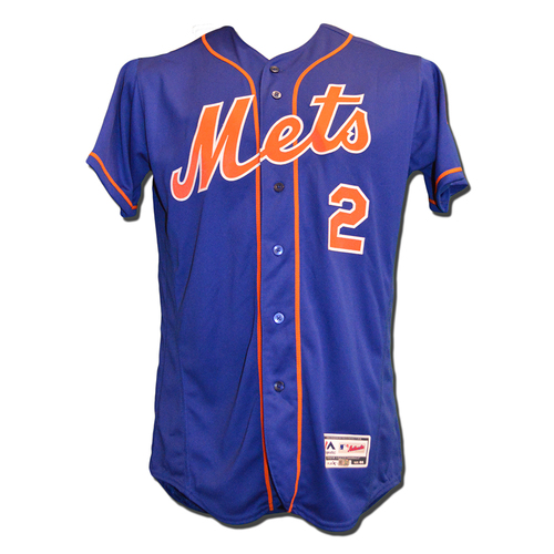 Gavin Cecchini #2 - Game Used Blue Alternate Home Jersey - Mets vs. Braves - 9/26/17