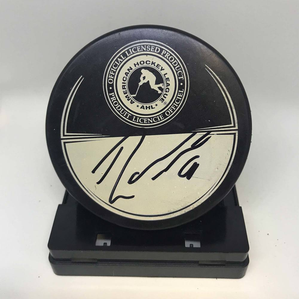 2013 Dunkin' Donuts AHL All-Star Classic Souvenir Puck Signed by #40 Robin Lehner