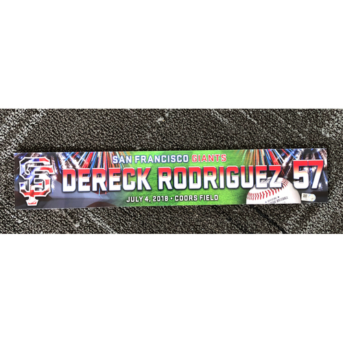San Francisco Giants - 2018 Stars & Stripes Locker Name Plate - #57 Dereck Rodriguez