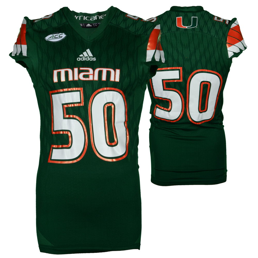 Miami Hurricanes Game-Used Green #50 Adidas Football Jersey Used Between The 2015 and 2016 Seasons - Size Large