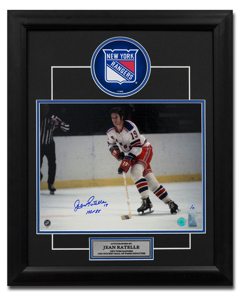 Jean Ratelle New York Rangers Autographed Hockey Legend 19x23 Frame #/19