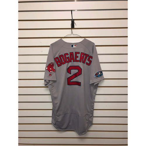 Photo of Xander Bogaerts Game-Used October 8, 2018 and October 16, 2018 Road Jersey