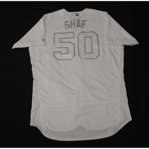 "Photo of Justin ""SHAF"" Shafer Toronto Blue Jays Game-Used 2019 Players' Weekend Jersey"
