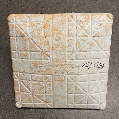 Photo of 2019 Game Used & Autographed Base - Bruce Bochy's Final Game - Game Used on 9/29 vs. Los Angeles Dodgers - Autographed by #15 Bruce Bochy - Base was used in the 6th through 8th Innings