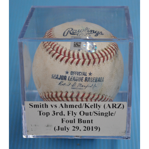 Photo of Game-Used Baseball: Caleb Smith vs Nick Ahmed/Carson Kelly/Merrill Kelly (ARZ), Top 3rd, Fly Out/Single/Foul Bunt (July 29, 2019)