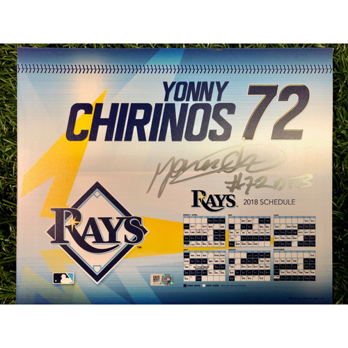 Photo of Game Used Autographed Locker Tag: Yonny Chirinos - Rookie Season & Opening Day - March 29, 2018 v BOS