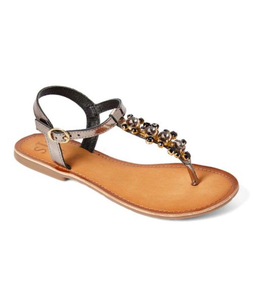 Photo of S.J.S Beverly Hills Rhinestone T-Strap Leather Sandal