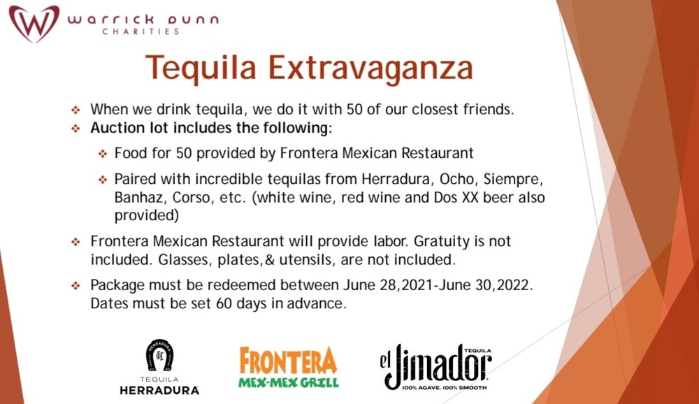 Frontera Mexican Restaurant Food & Tequila Extravaganza for 50 people - Benefiting Warrick Dunn Charities - Event will be limited to Atlanta area
