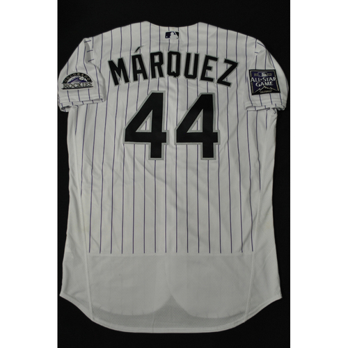 Photo of Hank Aaron Chasing the Dream Foundation: German Marquez 2021 MLB All-Star Workout Day BP-Worn # 44 Jersey