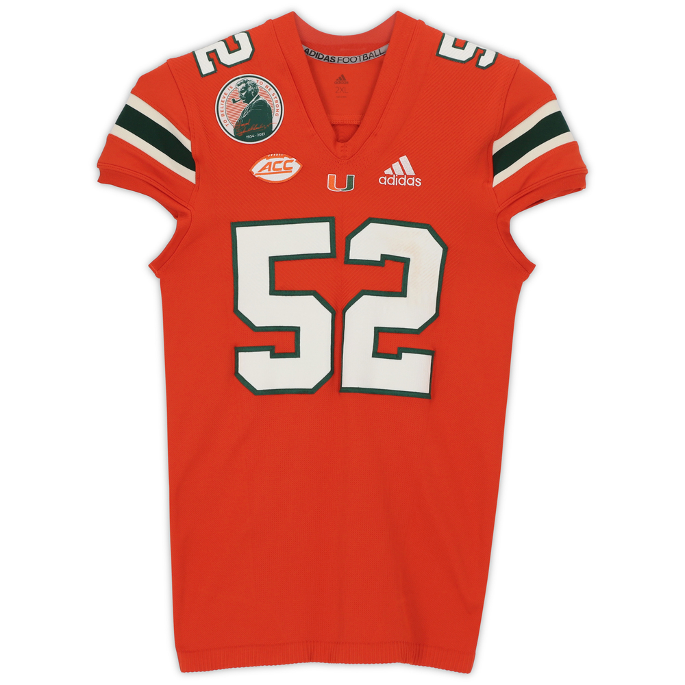 #52 Miami Hurricanes Game-Used adidas Primeknit Jersey with Howard Schnellenberger Patch vs. Virginia Cavaliers September 30, 2021 - Size 2XL