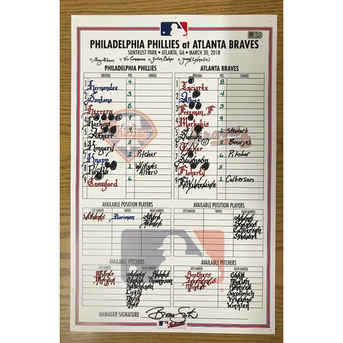 Photo of March 30, 2018 Game-Used Lineup Card - Phillies at Braves