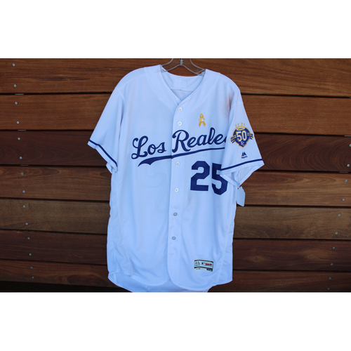 Photo of Game-Used Los Reales Jersey: Brian Goodwin 97th, 98th, and 99th Career Hits and 52nd Career RBI (Size 46 - BAL @ KC - 9/1/18)
