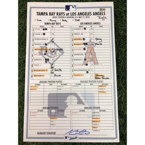 Game-Used Lineup Card: AL Rookie of the Year Shohei Ohtani (1-4, HR, R, RBI) - May 17, 2018 at LAA