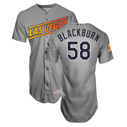 Photo of Paul Blackburn #58 Las Vegas Aviators 2019 Road Jersey