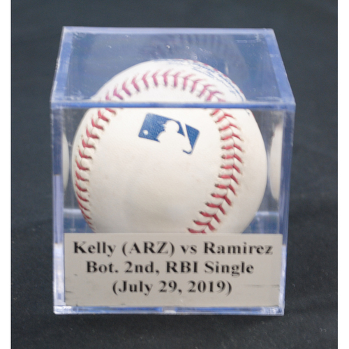 Photo of Game-Used Baseball: Merrill Kelly (ARZ) vs Harold Ramirez, Bot. 2nd, RBI Single (July 29, 2019)