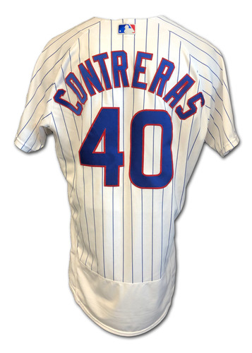 Photo of Willson Contreras Game-Used Jersey -- Cardinals vs. Cubs -- 9/7/2020 -- Contreras: 1 for 3, 2 RBI -- Size 46 TC + 2B