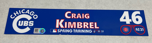 Photo of Craig Kimbrel 2021 Spring Training Locker Nameplate