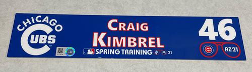 Photo of Craig Kimbrel 2021 Spring Training Locker Nameplate