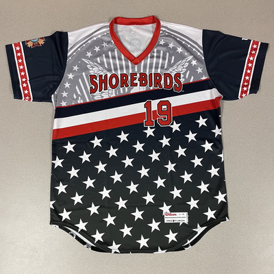 Patriotic Game Worn Autographed Jersey #19 Size 46 Houston Roth