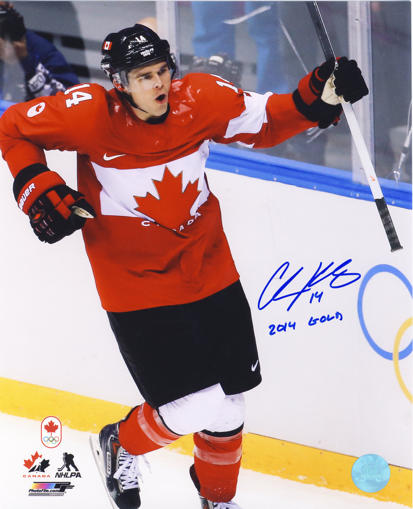 CHRIS KUNITZ 2014 Olympic Hockey SIGNED 8x10 Team Canada Photo w/ 2014 Gold Inscription