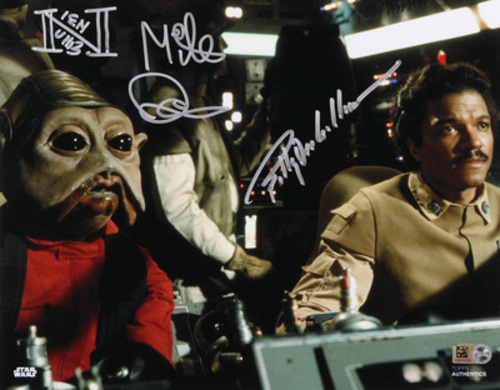 Billy Dee Williams as Lando Calrissian and Mike Quinn as Nien Nunb 8x10 Dual Autographed Inscribed