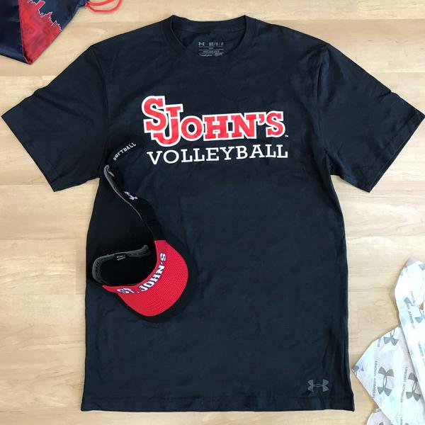 Photo of Under Armour St. John's Volleyball Black T-Shirt Men's Size Medium and Under Armour Unisex Softball Vi...