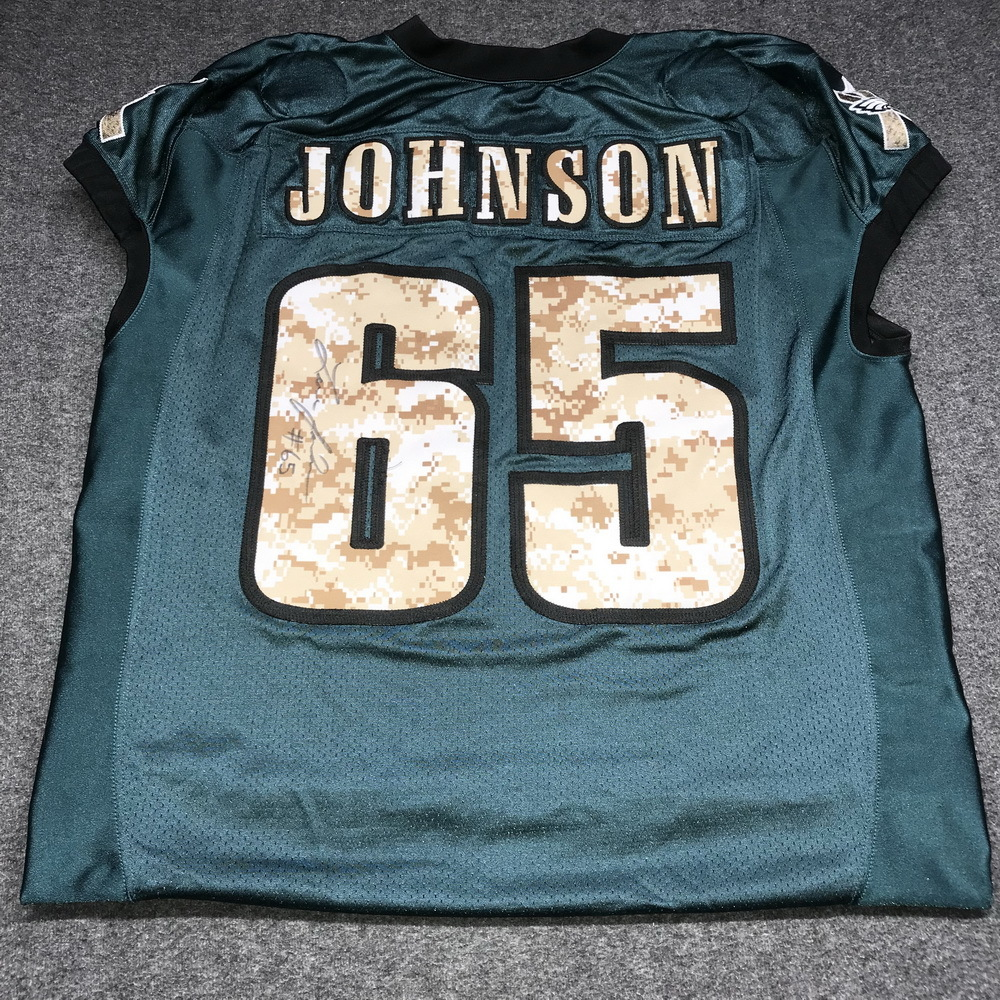 EAGLES - Lane Johnson SALUTE TO SERVICE SIGNED PRACTICE WORN JERSEY  NOVEMBER 2017 WITH CAMO NUMBERS 3ea88b47a