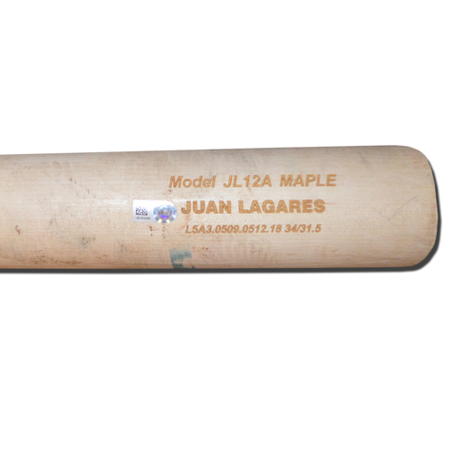 Photo of Juan Lagares #12 - Game Used Bat - Cracked Beige Chandler Model - Lagares Hits Single off Jaime Garcia in 1st Inning - Mets vs. Blue Jays - 5/15/18