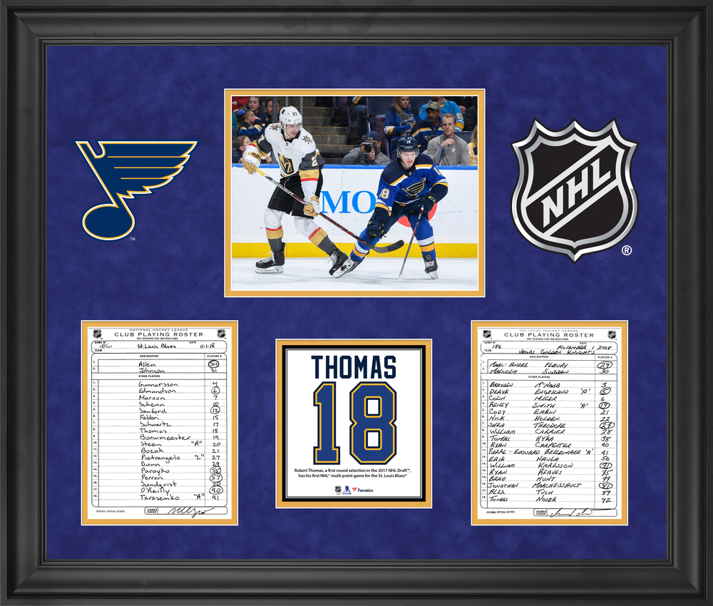 St. Louis Blues Framed Original Line-Up Cards from November 1, 2018 vs. Vegas Golden Knights - Robert Thomas First Multi-Point Game