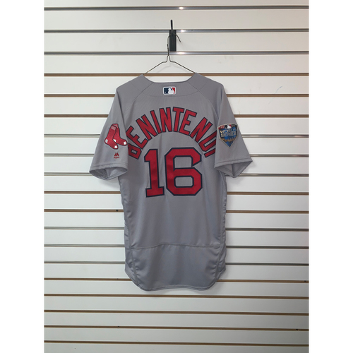 Photo of Andrew Benintendi Team-Issued 2018 World Series Road Jersey