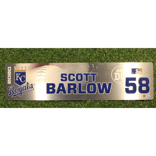 Photo of Game-Used Locker Tag: Scott Barlow #58 (DET @ KC 9/24/20)