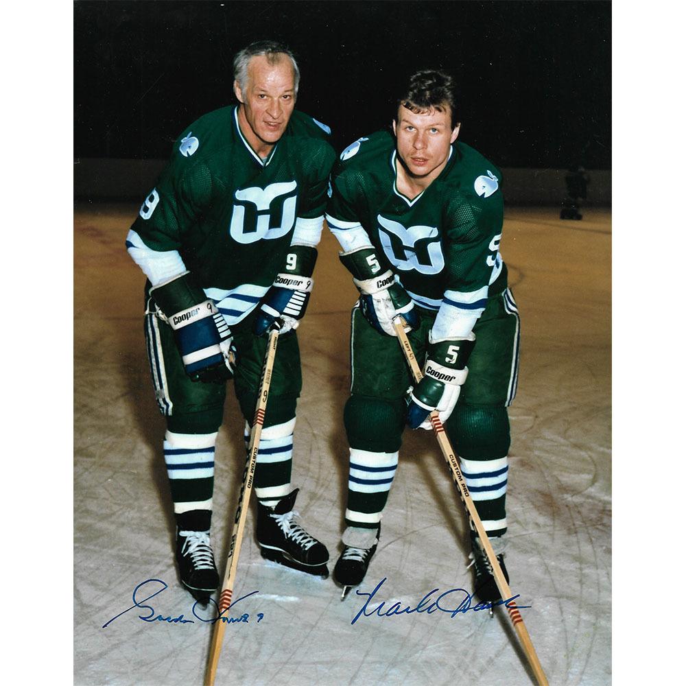 Gordie & Mark Howe Autographed Hartford Whalers 8X10 Photo