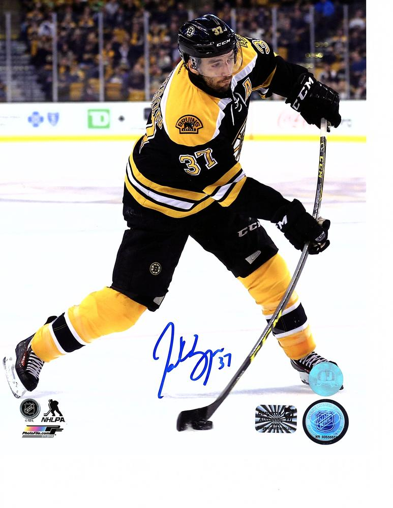 Patrice Bergeron Boston Bruins Autographed Hockey Sniper 8x10 Photo