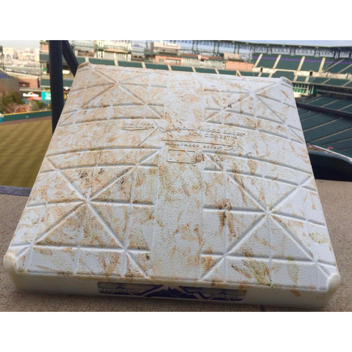 Photo of 2017 Dodgers vs. Rockies Game-Used First Base - Bellinger 2017 NL ROY