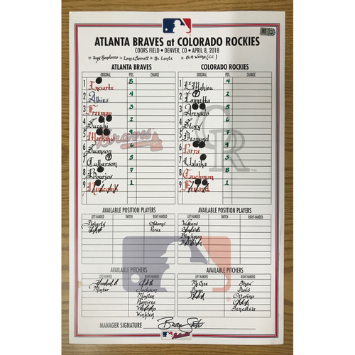 Photo of April 8, 2018 Game-Used Lineup Card - Braves at Rockies